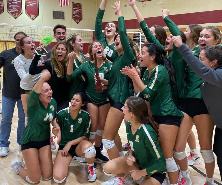 Immaculata La Salle's Lady Royals celebrate their win against MAST Academy at the 2019 Girls Volleyball District Championship in 4A District 15, held October 17.