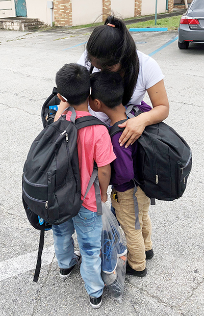 Photo and caption from July 2018: Maria (not her real name) was reunited with her children in Miami after a 49-day separation. They entered the U.S. without authorization and were separated under the Trump administration's short-lived zero tolerance policy.