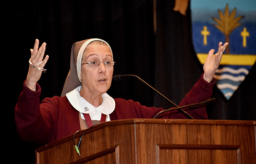 Mother Adela Galindo, of the Servants of the Pierced Hearts of Jesus and Mary, urges her listeners at the Catechetical Conference in Miami to uphold family values.