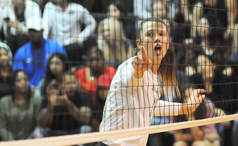 St. Brendan middle blocker Juliana Lentz calls a blocking scheme during Game 2 of St. Brendan's 25-15, 25-19, 25-21 loss to No. 1-ranked Orlando Lake Highland Prep in the teams' Class 4A state semifinal girls volleyball match at Wang Gymnasium in Orlando, Nov. 9, 2019. St. Brendan had reached the state semifinals for the first time since a state finals berth in 1980.