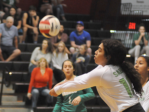 St. Brendan outside hitter Emily Diaz tries to pass a serve to the setter in Game 1 of St. Brendan's 25-15, 25-19, 25-21 loss to No. 1-ranked Orlando Lake Highland Prep in the teams' Class 4A state semifinal girls volleyball match at Wang Gymnasium in Orlando, Nov. 9, 2019. St. Brendan had reached the state semifinals for the first time since a state finals berth in 1980.