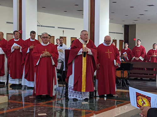 Archbishop Thomas Wenski, joined by all of Florida's bishops, blessed the new refectory and audio visual hall at St. John Vianney College Seminary Oct. 17, 2019, after celebrating a Mass of the Holy Spirit with the seminarians, seminary staff and friends. The seminary is marking the 60th anniversary of its foundation in 2019.