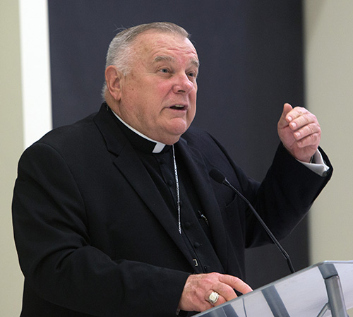 Archbishop Thomas Wenski speaks at a University of Miami forum on