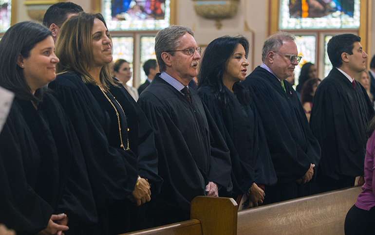 Taking part in the Red Mass, from left: County Court Judge Eleane Sosa-Bruzon, Circuit Court Judge Victoria del Pino, Circuit Court Judge John Thornton, Jr., Circuit Court Judge Beatrice Butchko, Circuit Court Judge Martin Zilber, and U.S. District Court Judge Rudy Ruiz.