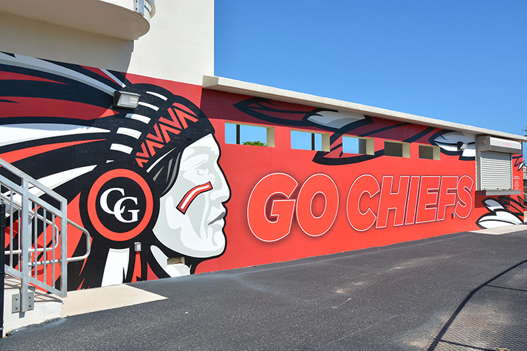 The Chief mural, designed by renowned marine-life artist and Cardinal Gibbons alumnus Dennis Friel '92, that was installed on the south side of the baseball dugout in honor of the Gunther family.
