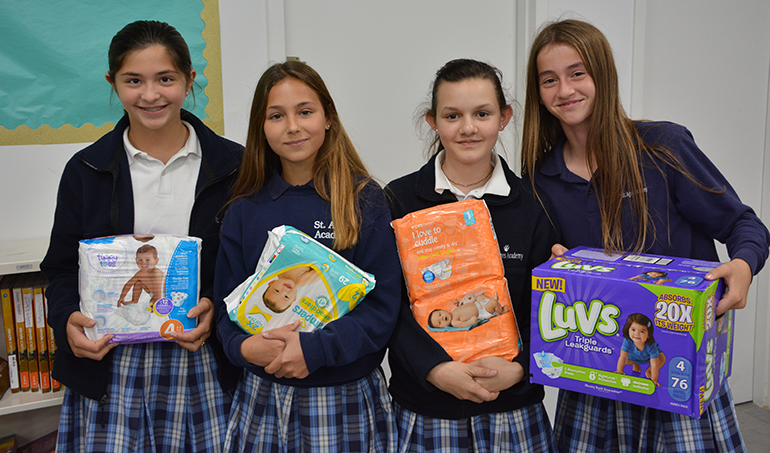 St. Agnes Academy students bring in donations for the diaper drive, one of the events held at the school to mark Respect Life Month this October.