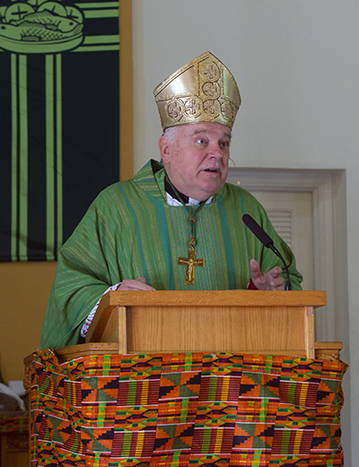 Archbishop Thomas Wenski preaches the homily during the Mass he celebrated Nov. 3, 2019, for Black Catholic History Month at St. Philip Neri Church, Miami Gardens.