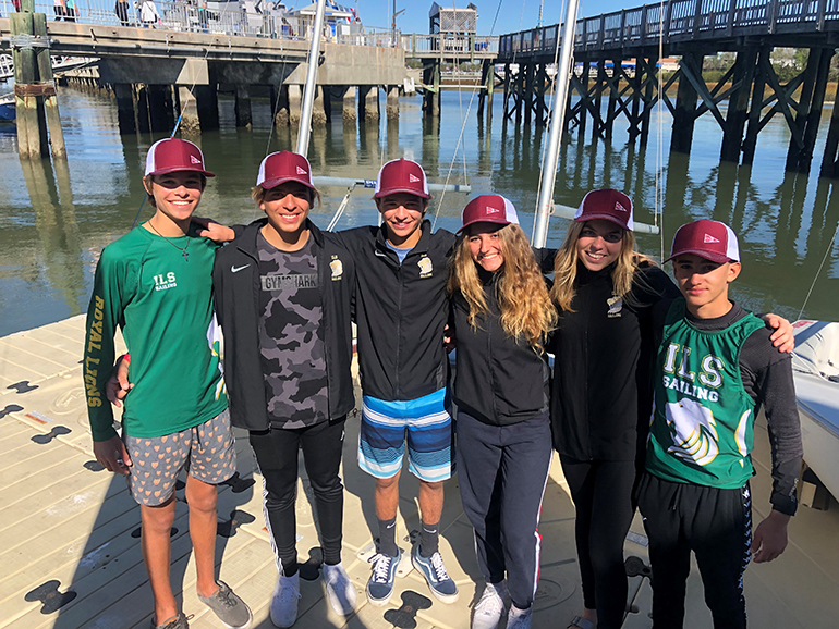 Immaculata-La Salle sailors pose for a photo after one of their wins at the College of Charleston's Invitational Regatta, held in Charleston, South Carolina, the weekend of Nov. 9 and 10. From left, Mitchell Callahan, Antonio Miranda, Justin Callahan, Brianna Ross, Chaira Kusmierek and Danny Riano.