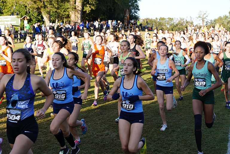Our Lady of Lourdes Academy's Ashley Williams (#916) and Alana Maria Batista (#910) run in the 5K cross country state championship finals for Class 4A, held Nov. 9, 2019 in Tallahassee. The Bobcats took third place in the state meet.