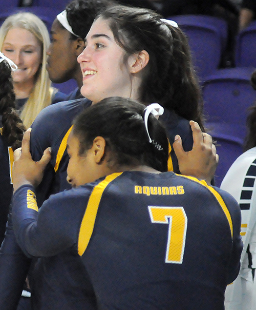 Gabriella Marzano and Liah Perez hype each other up  before St. Thomas Aquinas' Class 6A girls volleyball state final vs. Tallahassee Leon, Nov. 15, 2019 at Suncoast Credit Union Arena in Fort Myers. Leon won the match 18-25, 25-10, 25-22, 26-24 for its second title.