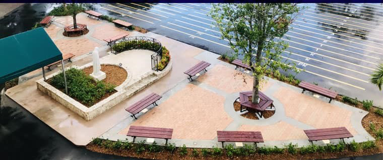 """St. Theresa School in Coral Gables dedicated its new Alumni Plaza Oct. 26, 2019. The area was in need of a facelift. """"Nothing would grow there, and when it rained, it would get very muddy,"""" said the school's principal, Sister Rosalie Nagy, of the Carmelite Sisters of the Most Sacred Heart of Los Angeles."""