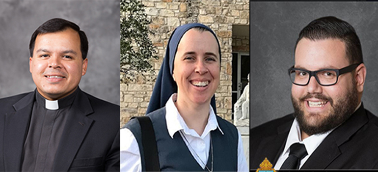 From left: Father Elvis González, archdiocesan vocations director; Sister Andrew Marie Tyler of the Daughters of St. Paul; and seminarian Sebastían Grisales, who is studying at St. Vincent de Paul Seminary in Boynton Beach.