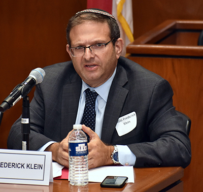 Rabbi Frederick L. Klein, executive vice president of the Rabbinical Association of Greater Miami, takes part in a panel discussion on Vatican-Israel relations at St. Thomas University. The event honored the 25th anniversary of the Holy See's recognition of the Jewish state.