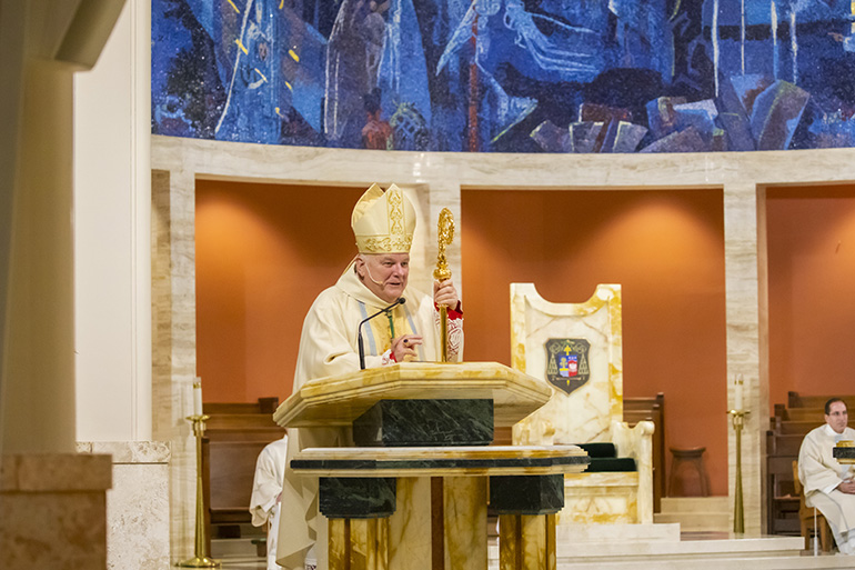 Archbishop Thomas Wenski preaches the homily during the  Thanks-for-Giving Mass celebrated at the Cathedral of St. Mary, Nov. 23, 2019.