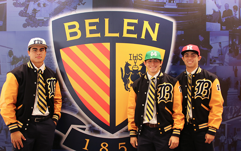 From left, the Belen Jesuit student-athletes who signed their national letters of intent to play baseball at the collegiate level: Alex Morales, Rutgers University; Christian Eiroa, Florida International University; and Roger Cainzos, Manhattan College.