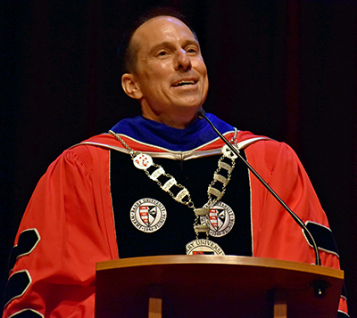 Mike Allen gives his inaugural address as the new president of Barry University.