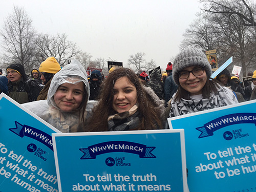 St. Brendan High students, from left, Nicole Marti, Camila Pons and Catherine Martinez braved a blizzard to take part in the 2016 March for Life in Washington, D.C.