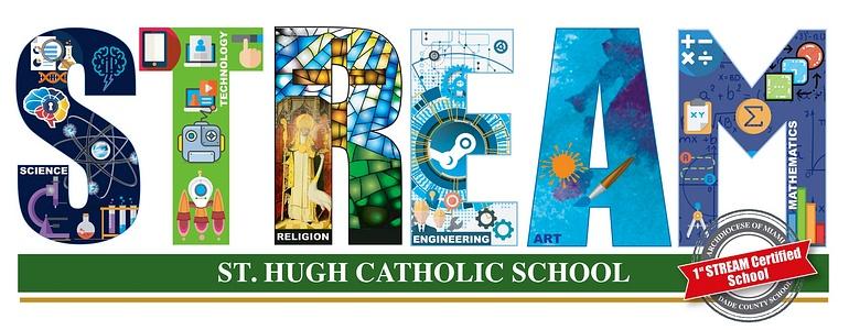 St. Hugh School put this STREAM logo on its website.