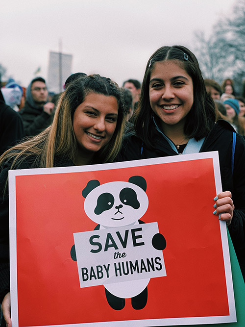 Students Lucy Weiss and Kayla Vergara, of Chaminade-Madonna College Prep in Hollywood, made their voices heard at the March for Life in Washington, D.C., Jan. 18, 2019.
