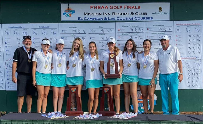 Lady Mavericks of Archbishop McCarthy High won another 2A state golf championship Nov. 7, 2019, defeating perennial rival Plantation American Heritage. The last six state finals have belonged to either the Mavericks or American Heritage.