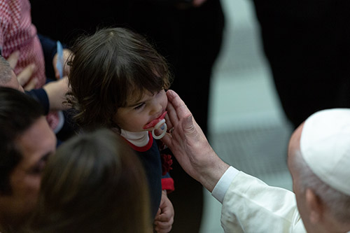 Pope Francis met with the employees of the Holy See and of Vatican City State, with their respective families, for the exchange of Christmas greetings inside the Vatican's Paul VI Hall, Dec. 21, 2019.