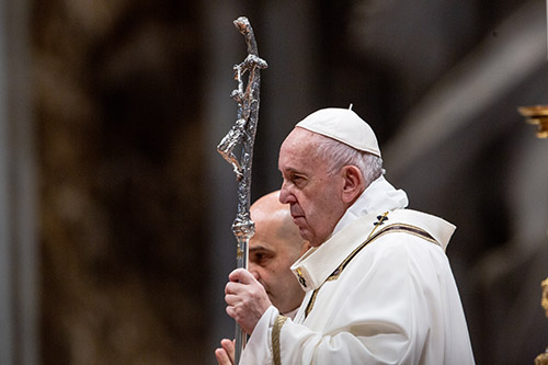 Pope Francis celebrates Mass for the Solemnity of the Epiphany of the Lord, in St. Peter's Basilica on Jan. 6, 2020.