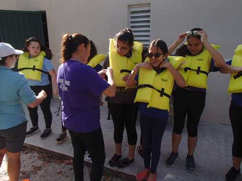 Mother of Our Redeemer middle school students suit up before heading to the water during their field trip to Marjory Stoneman Douglas Biscayne Nature Center in January.