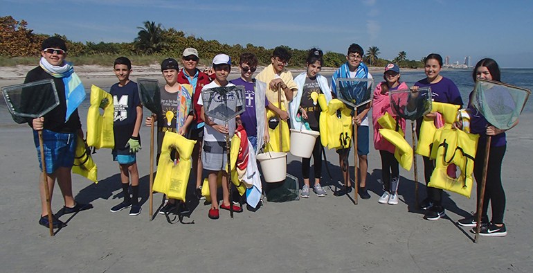 Mother of Our Redeemer middle school students are ready to check out the seashore for various species of marine life during their field trip to Marjory Stoneman Douglas Biscayne Nature Center in January.