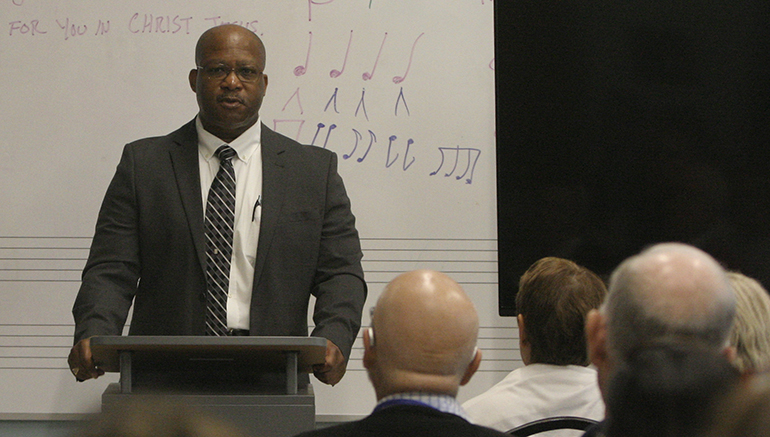 """Ralph """"Ron†Wright Jr. shares his story about living on death row and receiving a reversal of conviction to a standing-room-only crowd gathered during the 33rd annual Florida State Respect Life Conference in St. Augustine Oct. 12,2019."""