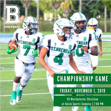 St. Brendan High's Sabres, playing as an FHSAA independent and member of the Florida Independent Football Conference, improved exponentially over a 3-5 finish in 2018. They won the Florida Independent Football Conference championship, beating the Westminster Christian Warriors 26-0.