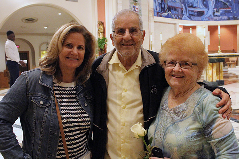 The wedded snowbirds: While visiting their daughter, Mary Rose Guerrieri, in South Florida, Mary and Art Guerrieri, from Bethlehem, Pennsylvania, participated in the wedding anniversary Mass celebrated at St. Mary Cathedral Jan. 25, 2020. The Guerrieris have been married for 66 years.