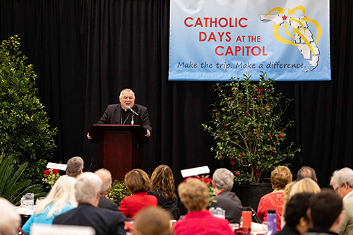Archbishop Thomas Wenski speaks to participants at the 2020 Catholic Days at the Capitol legislative breakfast, where the bishops outlined the Church's priorities for laws that protect human life and enhance human dignity.