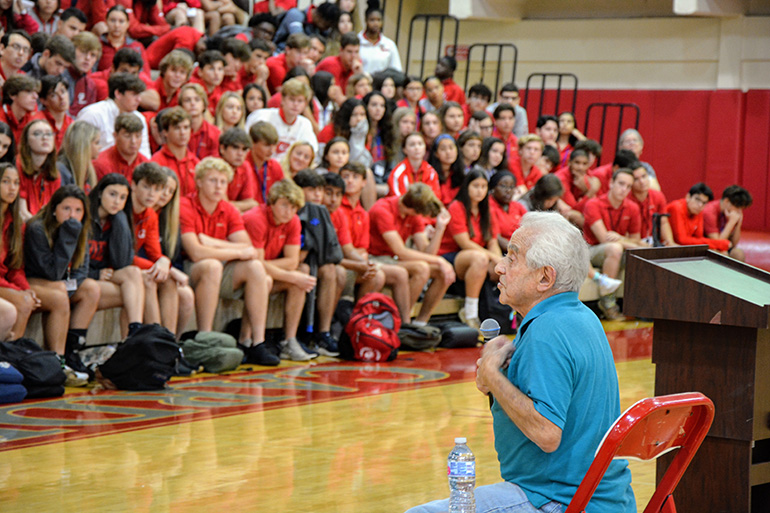 Holocaust survivor Bernard Igielski, 93, shares his story with juniors and seniors at Cardinal Gibbons High School in Fort Lauderdale, Feb. 20, 2020.