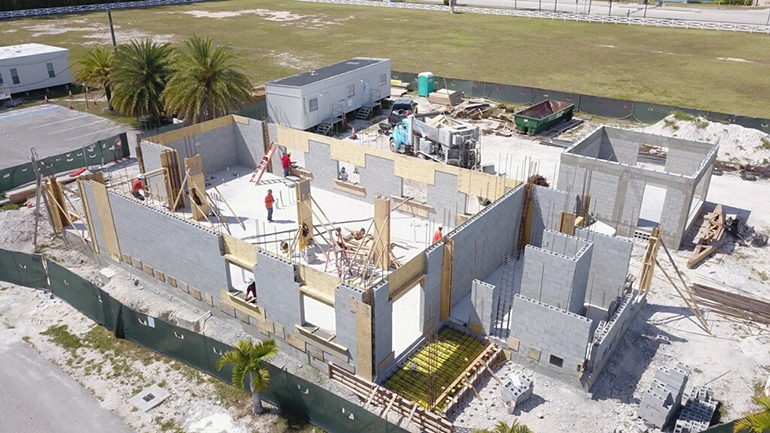 This is an aerial photo of ongoing progress at the new office and rectory at San Pablo in Marathon Key. Note the social distance between the workers in the photo.