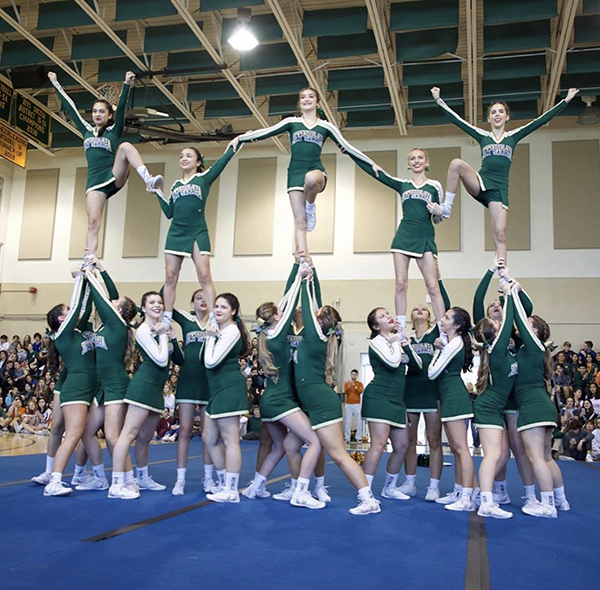 Immaculata-La Salle's Royal Lions perform their cheerleading routine at the high school's winter pep rally in January, just before their FHSAA Regional Competition. They won their first state title in competitive cheerleading Feb. 1, 2020, in the Class 1A extra-large non-tumbling division.