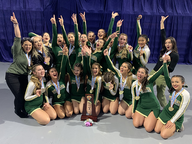 Immaculata-La Salle's Royal Lions rejoice after winning their first state title in competitive cheerleading Feb. 1, 2020. They won in the Class 1A extra-large non-tumbling division.