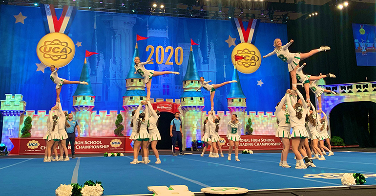St. Brendan Sabres perform the routine that earned them fourth place in the Super Varsity Division II category at the UCA National High School Cheerleading Championship, held Feb. 7-9, 2020 in Orlando. Watch their winning routine here: https://bit.ly/39cnGc1