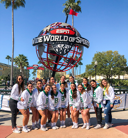 St. Brendan Sabres pose outside ESPN's Wide World of Sports pavilion in Orlando after earning fourth place in the Super Varsity Division II category at the UCA National High School Cheerleading Championship, held Feb. 7-9, 2020 in Orlando.