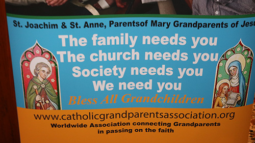 A sign displayed at an informational meeting on a new ministry to grandparents promotes the importance of the grandparenting role. The meeting took place Feb. 20, 2020, at Assumption Church, Lauderdale-By-The-Sea.