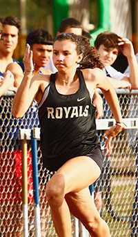 Immaculata-La Salle's Isabella Perez-Abreu raced to a seventh place finish out of 83 runners in the 100-meter dash and a ninth in the 200 at Belen Jesuit Prep's Home Meet March 3, 2020.
