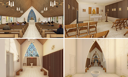 Architect's rendering of the new interior spaces at St. Peter Church in Big Pine Key after it's rebuilt to the latest hurricane code. The church and rectory are being rebuilt and raised five feet higher above sea level after being seriously damaged by Hurricane Irma in 2017.