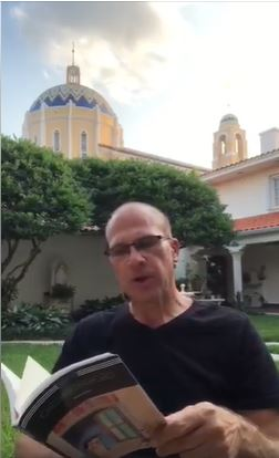"Father Christopher Marino reads a chapter from Carlo Collodi's ""Pinocchio"" during one of his ""Storytime with the Rector"" segments on St. Mary Cathedral's Facebook page."