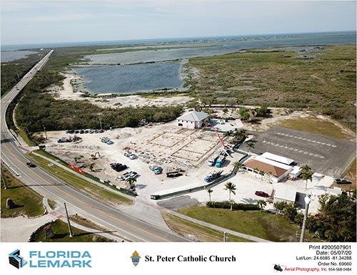 Aerial view of the grounds of St. Peter Church in Big Pine Key, taken May 7, 2020, when a concrete foundation was poured for the new church. The pink building in the middle is the ministry center which, before the pandemic, was being used for daily Masses and weekend Masses in the slow summer season. In winter, Masses were held in the enclosed outdoor pavilion at bottom right.