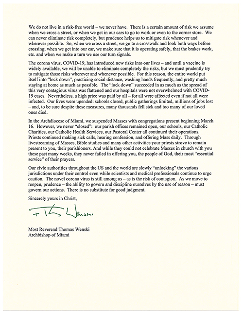 Image of Archbishop Thomas Wenski's letter to parishioners regarding the resumption of Masses with the congregation in Miami-Dade and Broward counties, effective May 26, 2020. Parishes in the Keys were given the go-ahead to resume public Masses as of May 18, 2020. Click on the link in the story to read the archbishop's letter.