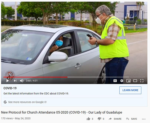Screenshot of video posted by Our Lady of Guadalupe Church explaining how ushers will check parishioners' reservations for attendance at Sunday Masses while coronavirus restrictions are in place.