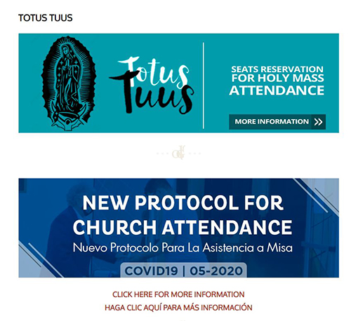 Links posted by Our Lady of Guadalupe Church on its website explain new protocols for Mass attendance as well as the reservation system for parishioners.