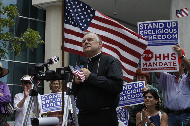 Archbishop Thomas Wenski addresses participants at a religious freedom rally in downtown Miami in this file photo from June 8, 2012. On June 22, 2020, he was named acting chair of the U.S. Bishops' Committee on Religious Liberty.