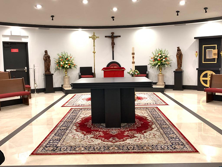 Picture of the new altar in the chapel of Mother of Christ Church, Miami. The archbishop celebrated Mass in the chapel May 30, 2020 and consecrated the new altar.