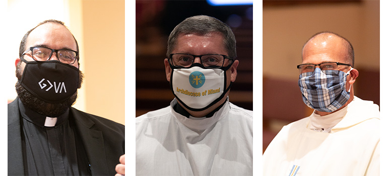 Making a statement with their masks, from left: Father Matthew Gomez, incoming vocations director; Msgr. Dariusz J. Zielonka, a judge in the Metropolitan Tribunal; and Father Christopher Marino, rector of St. Mary Cathedral.
