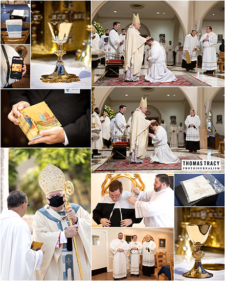Montage of photos from the ordination ceremony of Father Andrew Tomonto and Father Ryan Saunders.